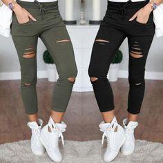 Women Skinny Ripped Pants Leggings High Waist Stretch Slim Pencil Cropped Ninth Trousers