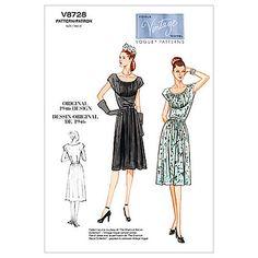 Buy Vogue Vintage Women's Dress Sewing Pattern, 8728 Online at johnlewis.com