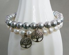 Cream Freshwater Pearl Bracelet with sterling silver tree of life by DiBA #jewelry #fashion #friendship #bracelet