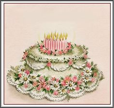 An exquisite vintage birthday cake illustration. Birthday Greetings For Sister, Free Birthday Card, Girl Birthday Cards, Sister Birthday, Birthday Images, Birthday Greeting Cards, Birthday Message, Birthday Wishes, Birthday Quotes