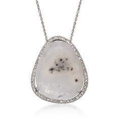 Chalcedony and .25 ct. t.w. Diamond Pendant Necklace in Sterling Silver. 18""