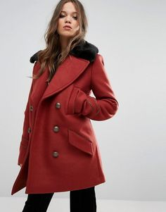 Free People Sedgwick Faux Fur Collar Pea Coat