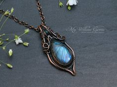 Elven inspired Antiqued Copper and Labradorite Necklace