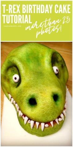 T-Rex Birthday Cake Tutorial with 25 Photos T Rex Cake, Dino Cake, Cake Decorating Tutorials, Cookie Decorating, Decorating Ideas, Dinosaur Cake Tutorial, Dinosaur Birthday Cakes, Dinosaur Dinosaur, Cake Hacks