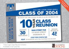 Class Reunion Invitation - School Colors and Logo on Etsy, $18.50