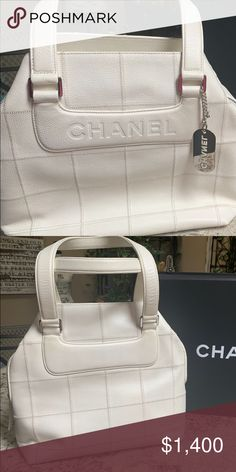 White Chanel Bag Gorgeous White Chanel with Block design. Authentic and no sign of wear. White Chanel Bag, Chanel Bags, Color Shampoo, Block Design, Satchels, Fashion Tips, Fashion Design, Fashion Trends, Handbags
