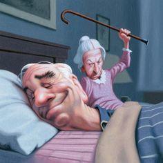 Humorous Illustrations by James Bennett - funny ,lustig - Funny Illustration, Illustrations, Caricatures, Snoring Humor, School Of Visual Arts, Humor Grafico, Whimsical Art, Alter, Cute Art
