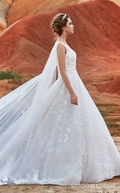 Wedding Dresses: Illustration Description CocoMelody Wedding Dresses Princess sleeveless ball gown wedding dress with cape See more gorgeous wedding dresses by clicking on the photo -Read More – Luxury Wedding Dress, Gorgeous Wedding Dress, Glamorous Wedding, Princess Wedding Dresses, Wedding Gowns, Wedding Blog, A Line Bridal Gowns, Bridal Dresses, Sophisticated Bride