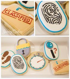 Escape room and mystery themed decorated vanilla bean butter cookies with cream cheese icing. #JennyCakesLA #escaperoom #mystery #detective #babyshower #breakfree #escapecookies #classified #partyfavors #lock #fingerprint #footprint #stopwatch #magnifyingglass #whodoneit