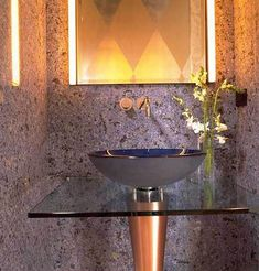 unique pedestal sinks for bathroom | ... is the slick pedestal sink with a blue tint glass vessel sink on a