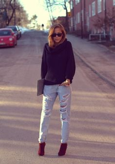 Love the jeans and red ankle boots!!