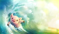 Heather's Sketches - Commission of a wave surfing piggy for the awesome...