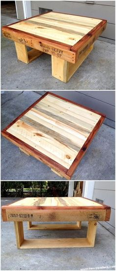 Use Pallet Wood Projects to Create Unique Home Decor Items Farmhouse Style Table, Rustic Table, Diy Table, Wood Table, Wooden Pallet Projects, Wooden Pallet Furniture, Wooden Pallets, Pallet Wood, Pallet Benches