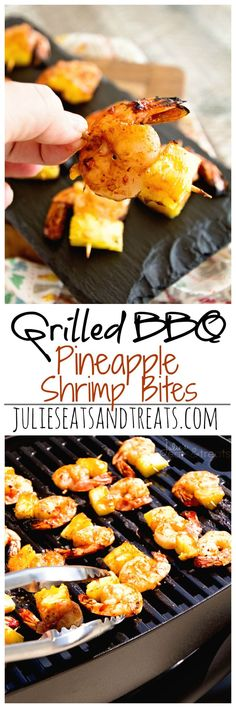 Grilled BBQ Pineapple Shrimp Bites ~ Delicious, Grilled Pineapple and Shrimp Bites Seasoned with BBQ Seasoning and Sauce then Grilled to Perfection!