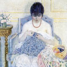 """Girl Sewing"" by Frederick C. Frieseke.  (1874-1939) was an American Impressionist painter who spent most of his life as an expatriate in France. An influential member of the Giverny art colony, his paintings often concentrated on various effects of dappled sunlight. He is especially known for painting female subjects, both indoors and out."
