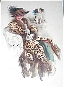 """$99  RARE PRINT Victorian woman and pekingese.  HARRISON FISHER 1913, COPYRIGHT BY DODD MEAD AND CO. Edwardian LADY SEATED IN Leopard skin FURS and feather hat WITH HER DOG, TITLED """"WELL GUARDED"""" 9""""X 13"""
