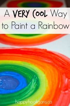 The COOLEST way to make a rainbow.  Fun and easy art technique for kids!  We made a bunch, and strung them into a banner for our playroom