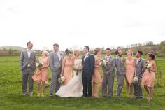 love these colors for bridesmaids and groomsmen #grey #peach