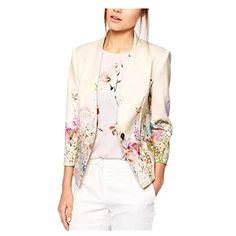 Enlishop Womens Fashion Vintage Floral Print Slim Casual Blazer Suit Jacket Floral XL ** You can find more details by visiting the image link.