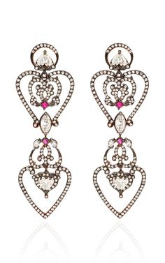 zsazsasitlist:  desginer: SABINE G see details here: 18K Rose Gold Pave Diamond Heart Earrings With Rubies