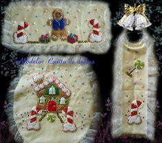 Juegos de baño navideños en fieltro                                                                                                                                                                                 Más