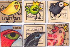 Bird Inchies by Fishstikks Art Trading Cards, Fabric Postcards, Mini, Printable Designs, Art Journal Inspiration, Tile Art, Whimsical Art, Art Sketchbook, Doodle Art