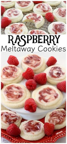 Raspberry Meltaway Cookies just melt in your mouth! Perfect topped with a simple almond glaze swirled with raspberry jam. Raspberry Meltaway Cookies just melt in your mouth! Perfect topped with a simple almond glaze swirled with raspberry jam. Almond Cookies, Yummy Cookies, Raspberry Cookies, Red Raspberry, Raspberry Recipes, Brownie Cookies, Cake Cookies, Raspberry Ideas, Diy Cupcake