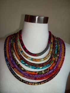 Ethnic African Fabric Tribal Cord Necklace by by paintedthreads2, $35.50