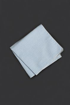 Blue Seersucker Pocket Square