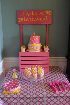Pink lemonade stand birthday party! See more party planning ideas at CatchMyParty.com!