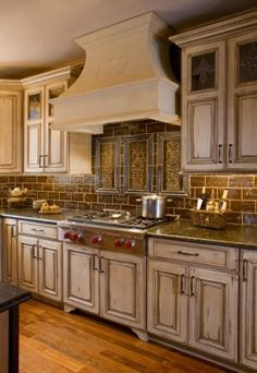 Custom Kitchen Cabinets-Stained Glass Door Inserts