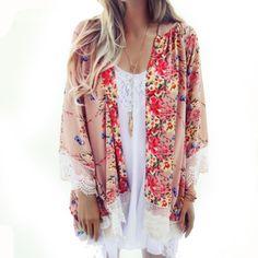 La mejor Oferta! el otoño y el Verano de Las Mujeres Impreso Gasa Mantón Kimono Cardigan Muchachas de Las Señoras Tops Cover Up Blusas Feminina Jaqueta(China (Mainland))