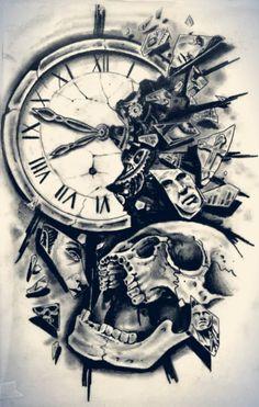 Skull And Broken Clock Tattoo Design
