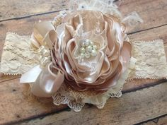 A Little Bit Of Country is Good For The Soul by brandy Sherman on Etsy Bridal Brooch Bouquet, Diy Wedding Bouquet, Ribbon Crafts, Flower Crafts, Baby Tiara, Ribbon Hair Bows, Lace Headbands, Wedding Flower Arrangements, Diy Hair Accessories