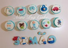 Boy Baby shower cupcakes and cookies