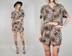 Leopard CROP TOP 2 piece matching set 80's by NOIROHIOVINTAGE