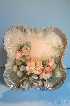 Limoges Hand Painted Platter Artist Signed C Woods Pink Roses Gold Trim in Pottery & Glass, Pottery & China, China & Dinnerware, Limoges   eBay