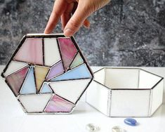 Table Decor Glass Box Geometric Stained Glass Jewelry by LaurusArt Stained Glass Light, Stained Glass Flowers, Stained Glass Projects, Stained Glass Patterns, Verre Design, Glass Design, Pantone 2016, L'art Du Vitrail, Glass Jewelry Box