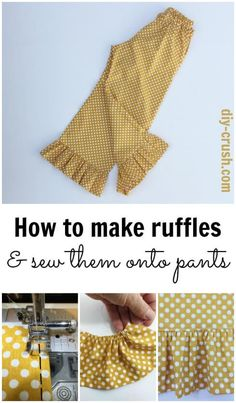 Sewing This tutorial will show you how to make ruffles and sew them on the professional way to almost anything. ~ DIY Crush - This tutorial will show you how to make ruffles and sew them on the professional way to almost anything. Sewing Ruffles, Love Sewing, Sewing For Kids, Sewing Hacks, Sewing Tutorials, Sewing Crafts, Sewing Tips, Sewing Ideas, Sewing Basics