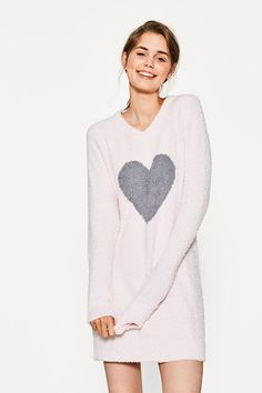 Fluffy dress with heart intarsia