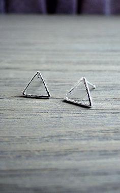 SALE Tiny silver triangle  earrings, triangle studs, simple earrings, geometric earrings, minimalist jewelry, gift for her