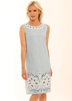 Pomodoro Contrast Embroidery Dress Dresses For Less, Embroidery Dress, Contrast, Cotton, How To Wear, Beautiful, Tops, Women, Style