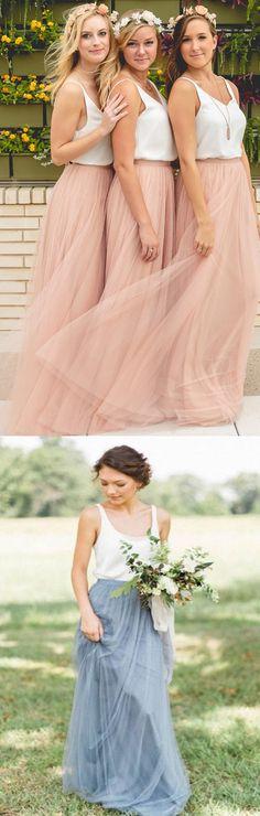 Pink Bridesmaid Dresses, Tulle Bridesmaid Dresses, Long Bridesmaid Dresses, Dresses On Sale, V Neck dresses, Long Pink dresses, Zipper Bridesmaid Dresses, Ruffles Bridesmaid Dresses, V-Neck Bridesmaid Dresses