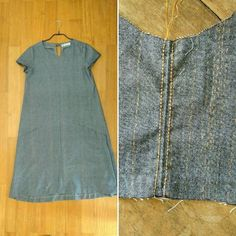 This is my new #farrowdress @grainlinestudio in a greyish chambray. The fabric has a subtle metalic stripe in the weave, which I am thinking of emphasizing by topstiching the seams (right photo). What do you think? #sewing #handmadewardobe #isewmyownclothesfarrowdress,handmadewardobe,isewmyownclothes,sewingeirenepaulidou