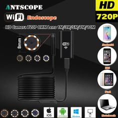 8MM OD 2MP 8LED HD720P Wifi Endoscop Android USB IOS Endoscope Camera Flexible Hard Wire Tube. Click visit to buy