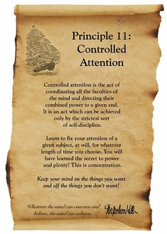 Napoleon Hill Foundation Controlled Attention scroll