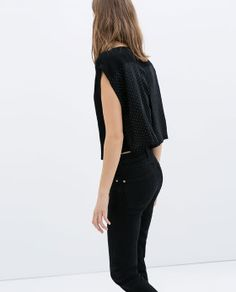 Image 5 of BLOUSE WITH CROPPED SLEEVE from Zara