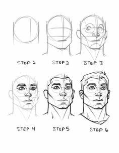 Face, step by step Drawing Skills, Drawing Techniques, Drawing Tips, Human Figure Drawing, Figure Drawing Reference, Anatomy Reference, Pose Reference, Anatomy Drawing, Anatomy Art