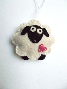Felt sheep ornament - handmande felt ornaments - Christmas/Housewarming/Easter home decor - Baby shower - eco friendly on Etsy, $5.10