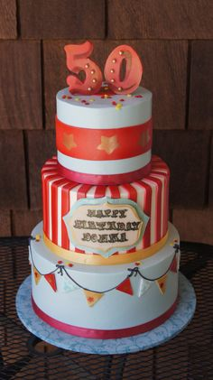 Tiered cute and simple vintage circus themed birthday cake Carnival Themed Party, Circus Party, Party Themes, Adult Birthday Cakes, Themed Birthday Cakes, Birthday Ideas, 7 Cake, Fest, Vintage Circus
